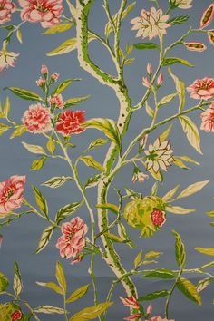 1970's Vintage Wallpaper pink carnations on by kitschykoocollage, $12.00