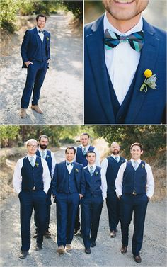 Blue and teal groomsmen with a yellow boutonniere: Fabulous.
