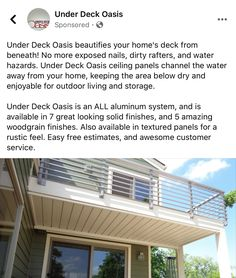 Under Decks, Ceiling Panels, Outdoor Living, Outdoor Decor, Deck Design, Oasis, Home Decor, Roof Panels, Outdoor Life