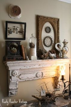 Old Chippy Salvaged Door Header - repurposed into a mantle. What a great display on the wall & mantle! - Model Home Interior Design Shabby Chic Decor, Vintage Decor, Home Goods Decor, Home Decor, Vibeke Design, Mantel Shelf, Faux Fireplace, Fireplaces, Creation Deco