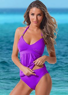 affba3e37f Purple Passions Siren tankini with high waist moderate from VENUS. Top   amp  Bottom Available
