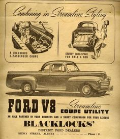 images of australian car adverts | 1947 Ford Coupe Utility (Australia) | Car ads and brochures | Pintere ...