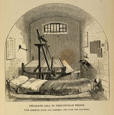 A separate cell in Pentonville Prison, 1862 Victorian Crime And Punishment, Pentonville Prison, Victorian Prison, Picture Boards, British History, Hard Times, Family History, Genealogy, Theater
