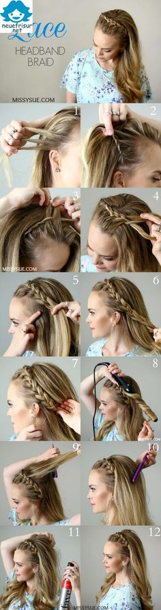 Lace Headband Braid Separate Hair Im Jahr 2016 werden wir über die am meisten b. Lace Headband Braid Separate Hair In 2016 we will talk about the most preferred hairstyle. This year mesh models ofte Braids Tutorial Easy, Diy Braids, Braids Cornrows, Fishtail Braids, Braid Hair, Simple Braids, Braided Headband Tutorial, Head Braid, Casual Braids