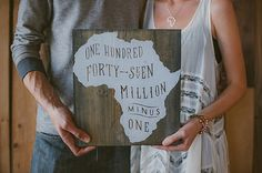 Screen Printed Africa Wood Sign - Uganda Adoption Fundraiser - 147 Million Minus One - available on etsy