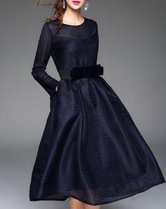 #AdoreWe #VIPme Swing Dresses - LANJIAN Blue Illusion Yoke Stripe Belted Swing Midi Dress - AdoreWe.com