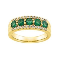 Genuine IceCarats Designer Jewelry Gift 14K Yellow Gold Wedding Band Ring Ring. Size 07.00 1/4Ctdw Anniversary Band Genuine Emerald/Diamond In 14K Yellowgold Size 7