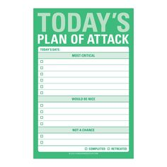 Knock Knock Today's Plan of Attack great big sticky notes are funny work sticky notes. Create your daily to-do lists with Knock Knock unique desk stuff.