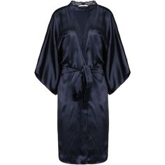 Stella Mccartney Clara Whispering Robe ($305) ❤ liked on Polyvore featuring intimates, robes, pajamas, blue black, lace dressing gown, lace trim robe, bath robes, lace bathrobe and lace robe