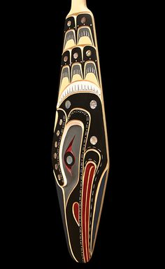 Loon Paddle | by Bill Henderson | Kwakwaka'wakw - Yellow Cedar, Abalone | via Inuit Gallery VAncouver, BC