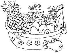healthy fruit is located in a nice basket coloring page - Fruit Coloring Page