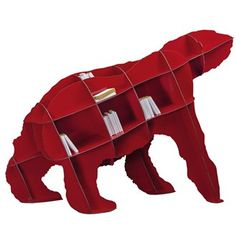 We've heard of a boy named Sue, but a bear-shaped bookshelf named Joe is a first for us. Another witty, wonderful creation from the team at Ibride. Joe Laminated-Resin Bookshelf by Ibride, Red Bookcase, Bookcases, Etagere Design, Converse, Quirky Decor, Study Design, Library Design, Kartell, Sweet Home