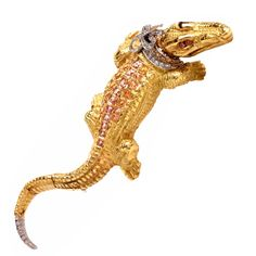 Capello Italy Sapphire Diamond Gold Alligator Lapel Brooch | From a unique collection of vintage brooches at https://www.1stdibs.com/jewelry/brooches/brooches/