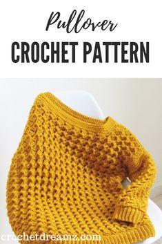 Crochet clothes 139259813462963297 - Crochet Sweater Pattern- Textured Pullover – Crochet Dreamz Source by nickiscrafts Pull Crochet, Mode Crochet, Bag Crochet, Crochet Woman, Crochet Crafts, Crochet Clothes, Crochet Projects, Crochet Granny, Filet Crochet