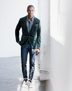 J.Crew men's Ludlow shawl-collar blazer in velvet, Wallace & Barnes Japanese denim workshirt, 484 selvedge jean in Fairfax wash, cashmere double-faced scarf and Sperry® for J.Crew slip-on sneakers. To pre-order, call 800 261 7422 or email verypersonalstylist@jcrew.com.