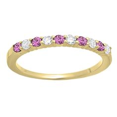 14k Gold 1/2ct Round Pink Sapphire and White Diamond Stackable Wedding Band