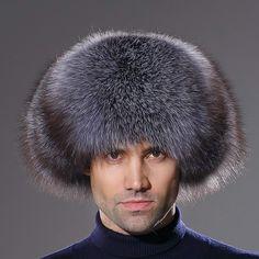 URSFUR Winter Mens Trapper Hat Real Leather and Fox Fur Russian Ushanka Cap  Trapper Hats d63619b60804