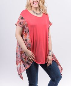 Look what I found on #zulily! Coral Floral-Panel Chiffon Sidetail Top - Plus #zulilyfinds
