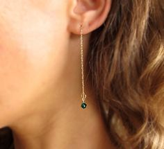 Birthstone charm Earrings. Gold Dangle Earrings