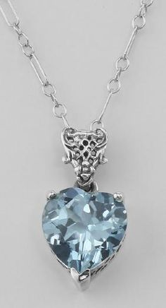 Filigree Heart Shaped Blue Topaz Pendant - Sterling Sil Cultured Pearl  Necklace 95dc8020517f
