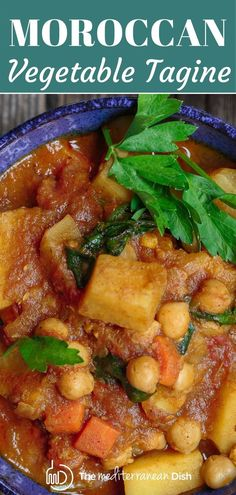 A yummy one pot meal, the warm Moroccan flavors give this simple vegetable tagine it's amazing flavor. And it's Vegan and Gluten free! Moroccan Vegetable Tagine Recipe, Moroccan Vegetables, Vegetable Stew, One Pot Meals, Easy Meals, Tagine Recipes, Mediterranean Dishes, It's Amazing, The Dish