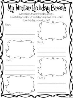 Winter Break writing prompt. Repinned by SOS Inc. Resources pinterest.com/sostherapy/.