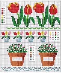 ... 123 Cross Stitch, Cross Stitch Flowers, Simple Embroidery, Cross Stitch Embroidery, Fair Isle Knitting, Modern Cross Stitch Patterns, Bargello, Charts, Instagram Posts