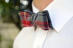 "Bow tie ""The curator"" / / shape Slim / / Plaid red & grey / / handmade…"