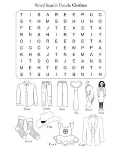 Word Search Puzzle Clothes | Download Free Word Search Puzzle Clothes for kids | Best Coloring Pages Clothes Worksheet, Worksheets, Word Search