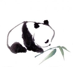 """Cute but simple water color tattoo idea. """"Afternoon Snack"""" (aka """"Baby Panda"""") by Cindy Pon (© 2011)"""