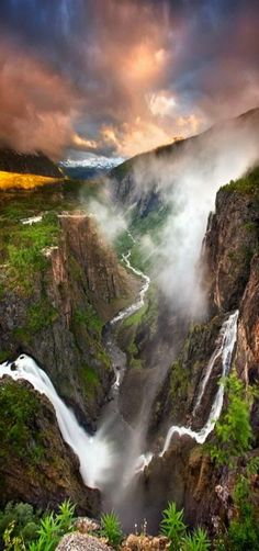 Vøringfossen waterfall which plunges into this gorge of the Eidfjord, Norway