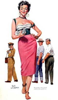 """""""She seemed to nod to all the world in a dim, queenly way."""" Miss Temptation / illustration for the Saturday Evening Post by Bob Hilbert, Look Retro, Look Vintage, Vintage Ladies, Retro Vintage, Pin Up Girl Vintage, Vintage Ideas, Retro Art, Vintage Pins, Pinup Art"""