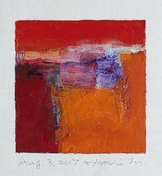 "Aug. 3, 2017 9 cm x 9 cm (app. 4"" x 4"") oil on canvas © 2017 Hiroshi Matsumoto"