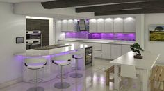 This is Beautiful White Kitchen And Purple Lights Item of Fascinated Cozy Kitchen Design Ideas. Stunning Kitchen Cabinet Design ideas for your home. Purple Kitchen Designs, Modern Kitchen Design, Kitchen Colors, Modern Interior Design, Cozy Kitchen, Kitchen Stools, Kitchen Decor, Kitchen Ideas, Beautiful Kitchens