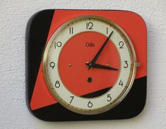 1950s-60s Red & Black Mid Century Formica Wall Clock-Atomic Clock-Powerful Red and Black Design-French ODO Clock-Perfect Working Condition