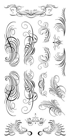 Calligraphy Ornamental Clear Stamps By Inkadinkado Calligraphy Tattoo Fonts, Calligraphy Fonts Alphabet, Tattoo Fonts Alphabet, Flourish Calligraphy, Hand Lettering Alphabet, Chicano Lettering, Graffiti Lettering, Filigree Tattoo, Letras Tattoo