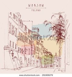 A street in old center of Warsaw, Poland, Europe. Historical buildings line art in retro colors. Artistic illustration. Travel sketch drawing, hand lettering. Vintage style postcard poster template