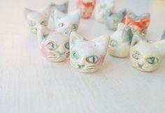Kitty ceramic beads #murava#pottery#jewellery#handmade#ceramics #ceramic#vintage#glaze# #bead#beads #cat#kitty #earring #earrings #fashion #bijou #серьги #бусины#керамика #керамикаручнойработы #украшения #украшение
