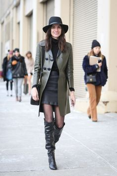Leila Yavari rocking black and olive green leather outfit #StreetStyle http://www.refinery29.com/2015/02/82279/new-york-fashion-week-2015-street-style-pictures#slide-40