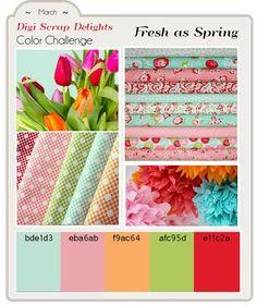 Dozens of Digital Scrapbook Freebies! in  yummy ruby, pink, green, orange, and aqua! Etsy Designers Color Challenge #Freebies #Free #Downloads