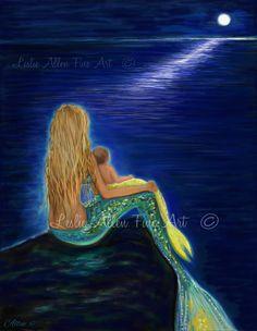 """Mermaid Art Print Mermaid Mother Baby Mermaid Wall Art Baby Mermaid Mermaid Decor Nursery """"Mermaids Sweet Babies Moon"""" Leslie Allen Fine Art by LeslieAllenFineArt on Etsy"""