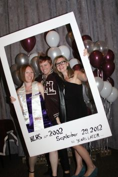 LOVE the polaroid prop!!! And the idea of hiring a mascot to take pictures with    High School Reunion Photo Booth with themed props. SO much fun!  **find photographer, and a volunteer mascot**