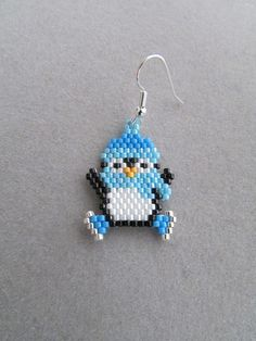 Beaded Ice Skating Penguin Earrings by DsBeadedCrochetedEtc