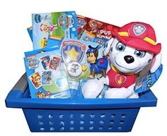 Ultimate Paw Patrol Basket - Perfect for Easter, Christmas, Birthday, Get Well, or Other Occasion!  This ultimate Paw Patrol gift basket includes: Paw Patrol Jumbo Coloring & Activity Book, Paw Patrol Puppy Power Coloring Book, Paw Patrol #Marshall #Stuffed #Toy, Paw Patrol Jumbo Playing Cards, Paw Patrol Itty-Bitty Kitty Rescue Storybook, and a 6 Pack of Paw Patrol toddler socks.