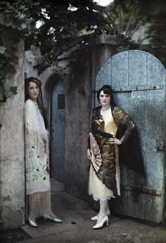 Two Creole women standing in the doorway to their Uptown home, New Orleans, 1920/30s //