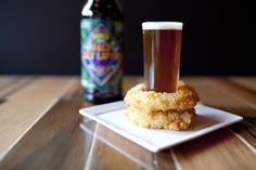 "Pairing Stations for Weddings: Crunchy, homemade onion rings + mini ""shots"" of local beer 