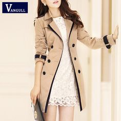 Women Trench Collar Double Breasted Color Coats