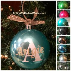 Personalized Christmas Ornament Ball Name and Initial, customizable shatterproof Christmas ornanent Gift, monogram Christmas ornament by ArtsyWallsAndMore on Etsy