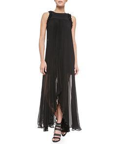 Carmilina Beaded-Trim Pleated Chiffon Dress by Alexis at Neiman Marcus.
