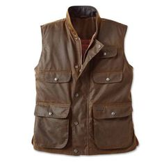 For the dry Australian outback and the extreme weather of New Zealand's South Island, rugged work gear like this oilskin canvas vest is an essential item. Cotton Vest, Field Jacket, Cool Shirts, Casual Wear, Military Jacket, How To Wear, Hard Wear, My Style, Jackets